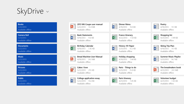 Like Windows 8, you'll be able to save to SkyDrive, but unlike Windows 8, SkyDrive will be usable even offline.