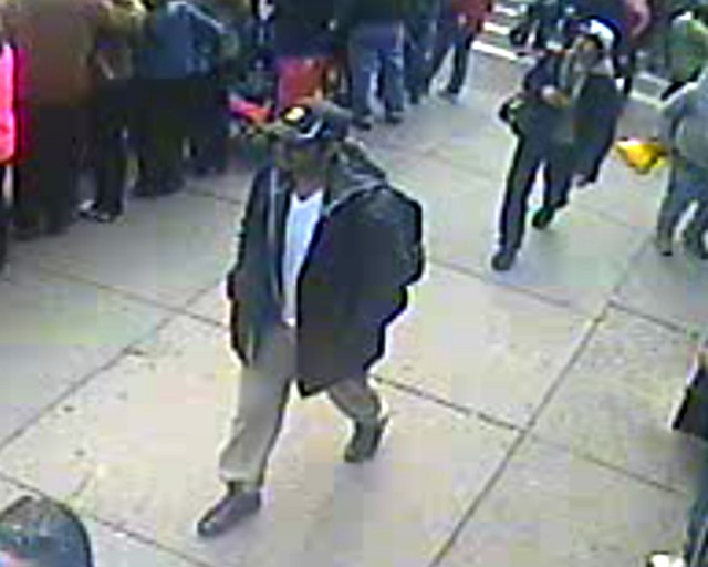The angle of the footage from this retailer's surveillance camera, in combination with lighting, the sunglasses worn by Tamerlan Tsarnaev, and the ball caps worn by both of the brothers would have made a facial match difficult.