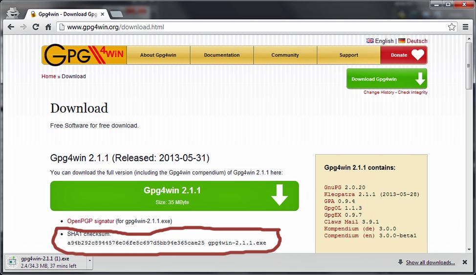 Download Gpg4win 2.1.1