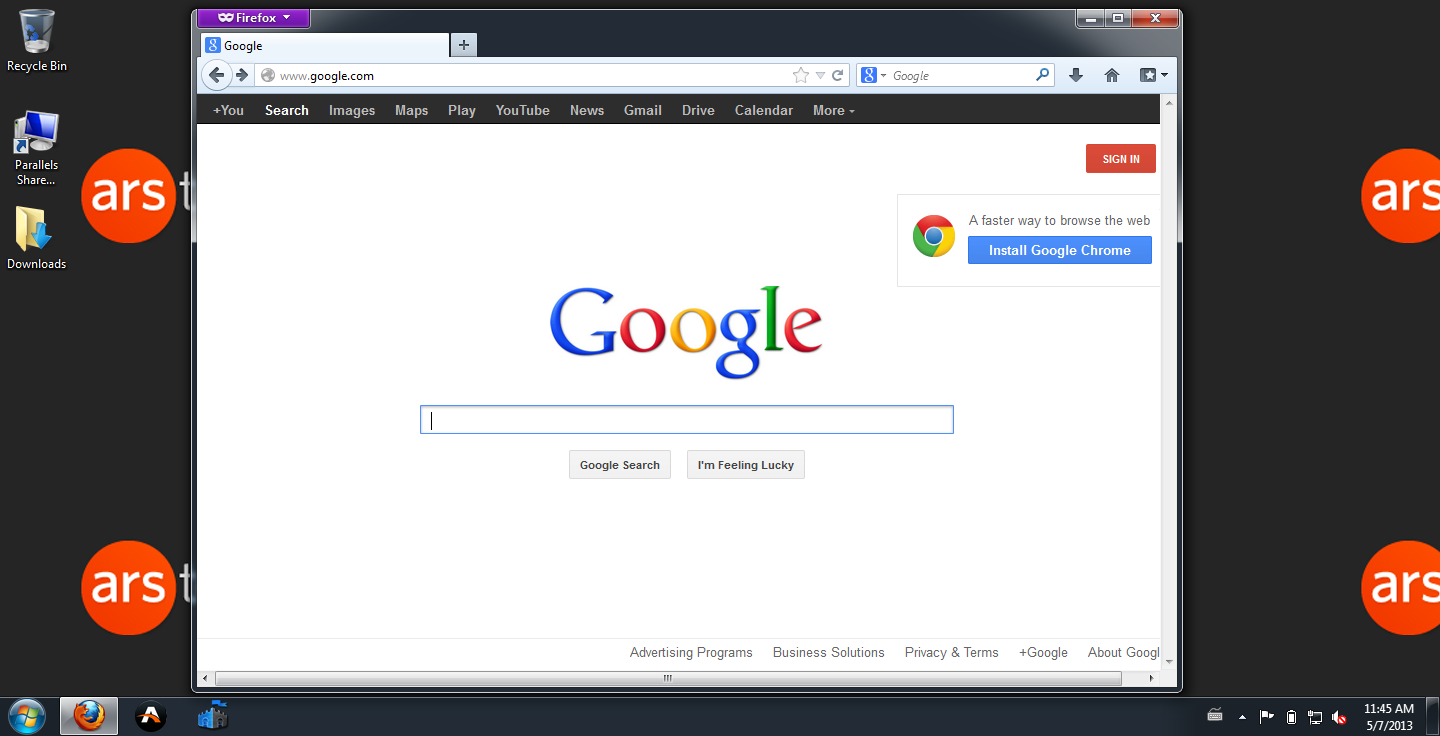 Web browser before search No. 1...