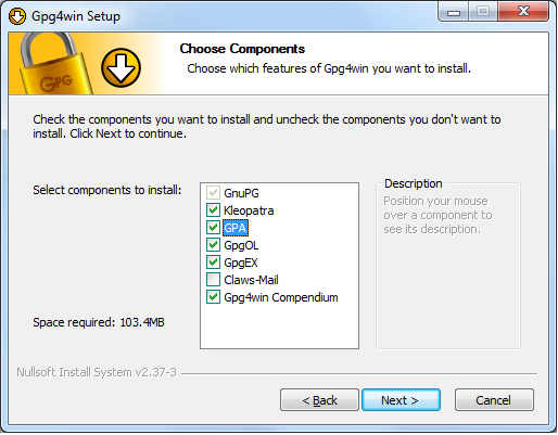 The Choose Components screen displayed during the Gpg4win installation.