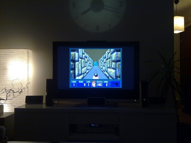 <em>Wolfenstein 3D</em>, as played on a modern television.