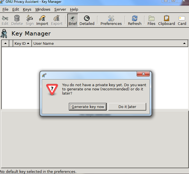 The Generate Key Now dialog presented by GPA.