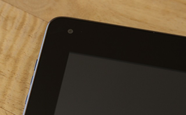 The 0.3MP front-facing camera in the tablet's upper-left corner.