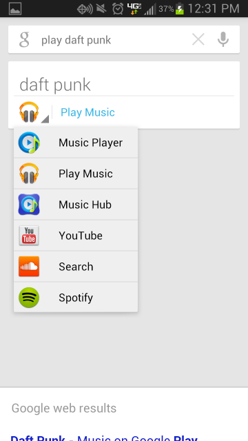 With a new music feature, tap the search results to bring them up.