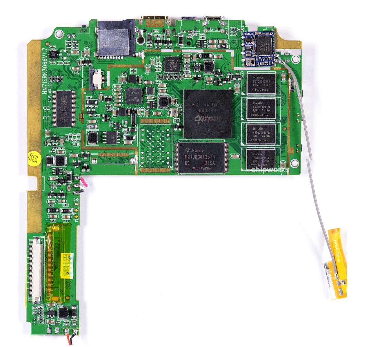 The Sero 7 Lite's barebones system board.