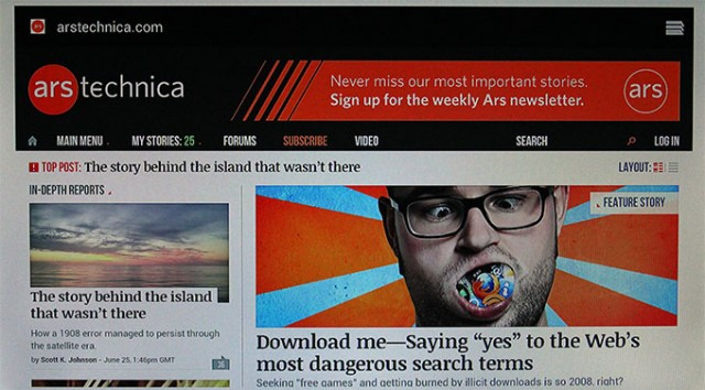 What Ars Technica looks like on the Ouya Web browser.