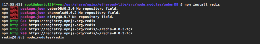 Installing the Redis connector via Node Package Manager.