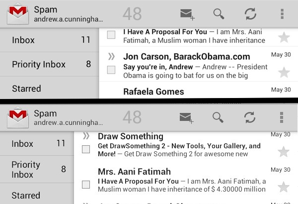 "The ""7-inch"" Gmail app, top, makes more room for your labels and things on the left. Squeezing the ""10-inch"" interface onto a 7-inch screen, bottom, often results in text wrapping."