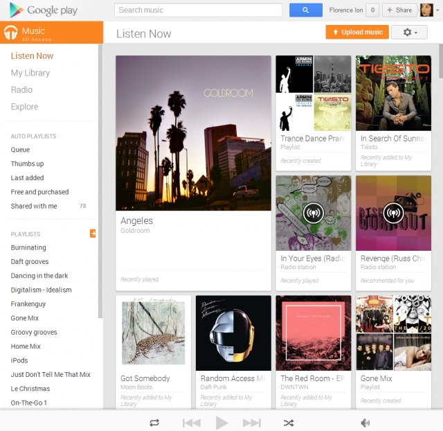 Google Play Music All Access: now playing in your browser of choice.