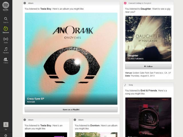 Spotify on the Web.