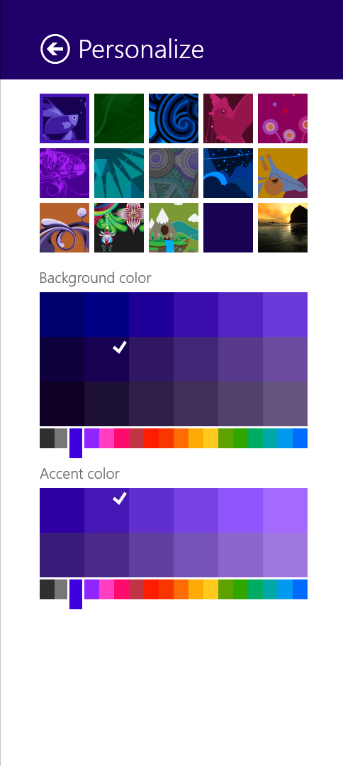 There are more color combinations allowed for the Start screen, plus new backgrounds.