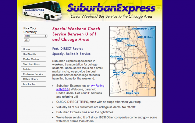 The Suburban Express website welcomes you, reddit users, with the warmth of an NSA wiretap.