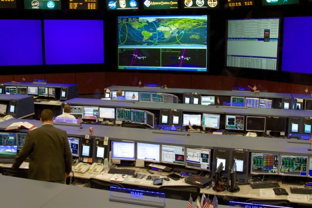 The International Space Station Flight Control Room on the second floor of Building 30 at the Johnson Space Center.