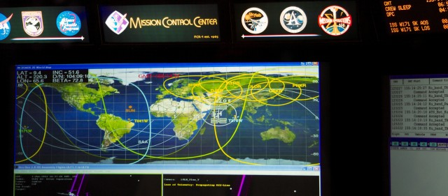 The main display at the front of the FCR, showing the station's position, orbital path, and the various ground stations with which it can communicate.