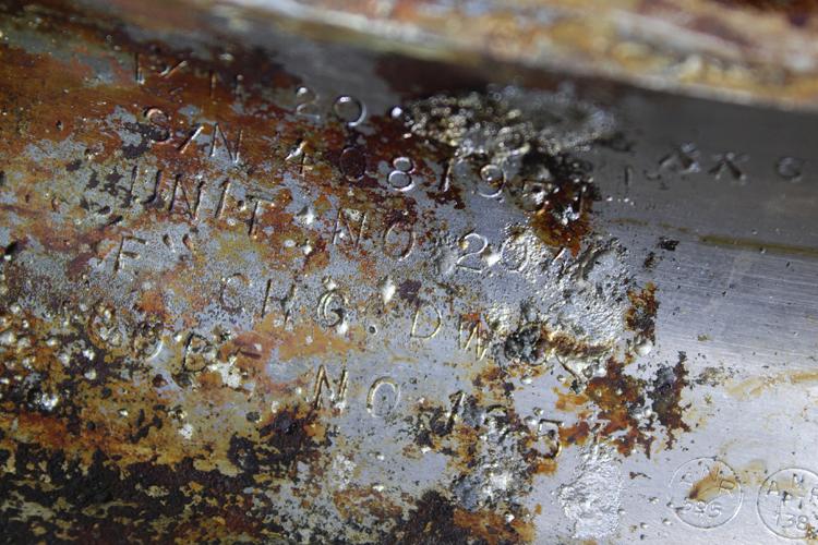 Отреставрированная часть двигателя, на которой обнаружен серийный