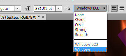 Available options on Windows.