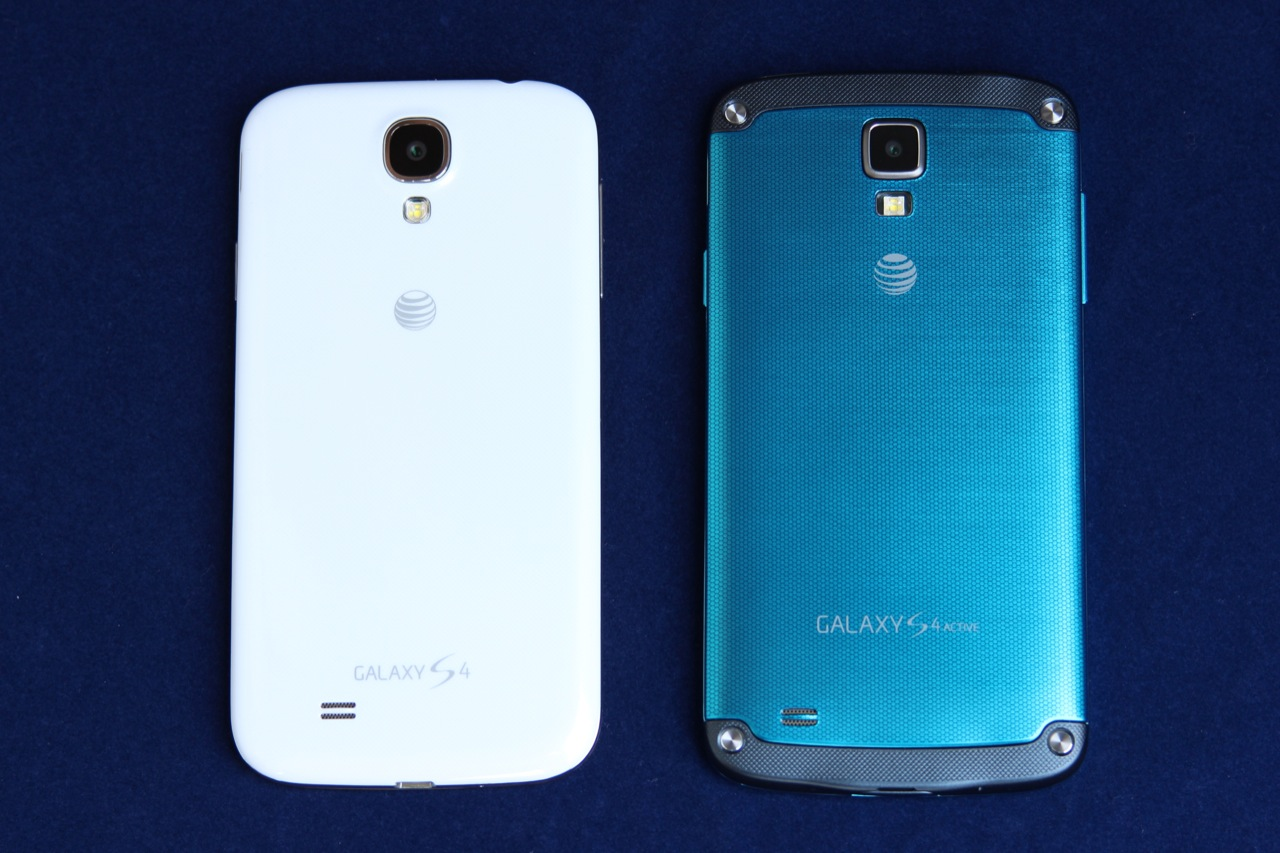 The S 4 Active (right) has a matte plastic back and a couple of harder plastic bits at the top and bottom to shield it from fall damage. It also comes in grey and orange.