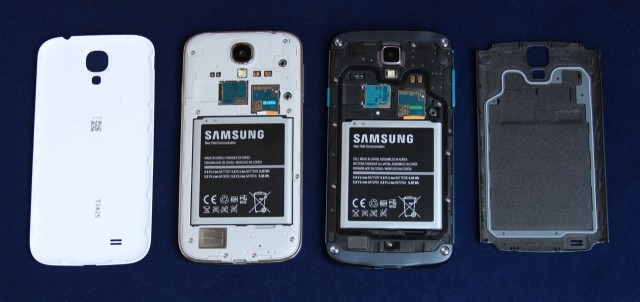 The S 4 Active's back cover (far right) has a small rubber piece to keep water and dust out of the phone's insides.