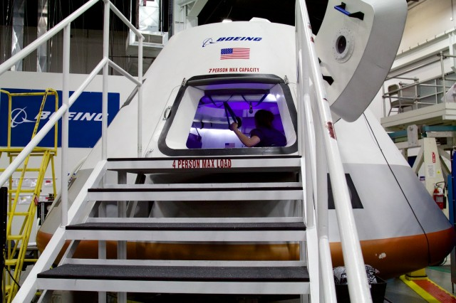 The CST-100 mockup on display at Boeing's Houston Product Support Center in Clear Lake, TX.