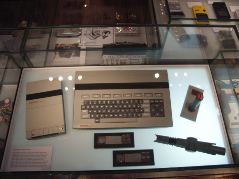 An early prototype of what would become the North American version of the Famicom. The Nintendo Advanced Video System communicated with its peripherals wirelessly through infrared.