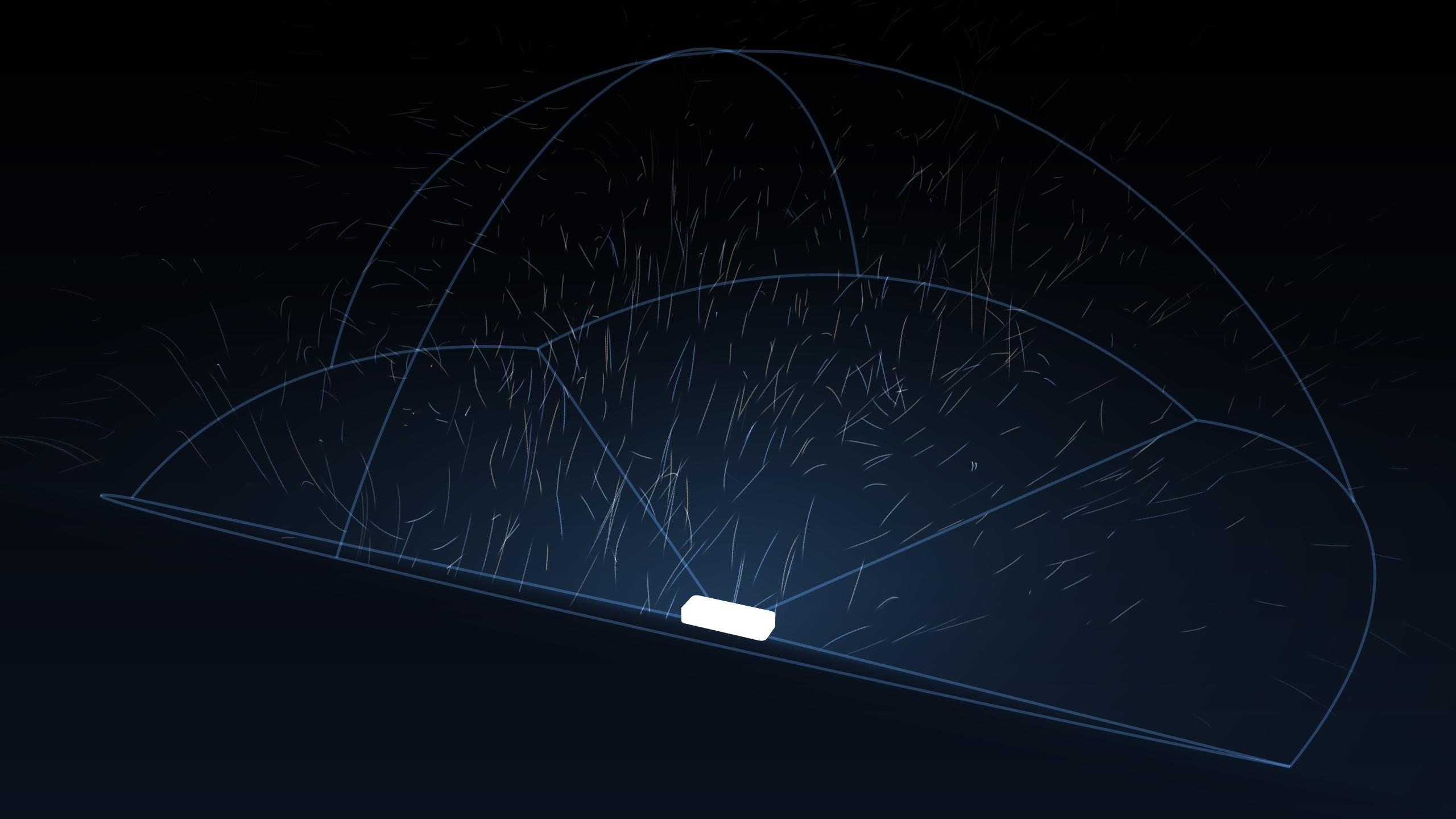 A graphical representation of the Leap Motion's field of view, taken from the orientation application.