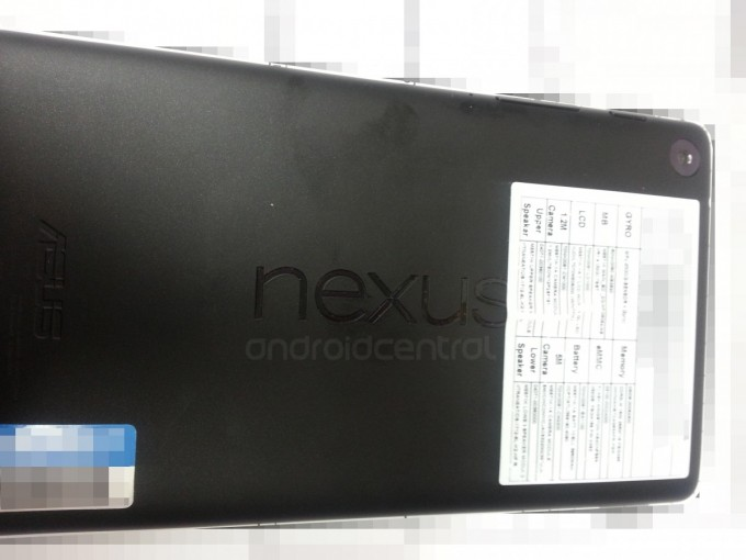The back of the tablet. Note the horizontal Asus logo on the bottom of the tablet and the vertical Nexus logo in the middle.