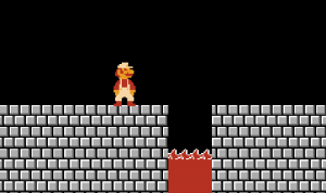 <em>Super Mario Bros.</em> running on the NES.