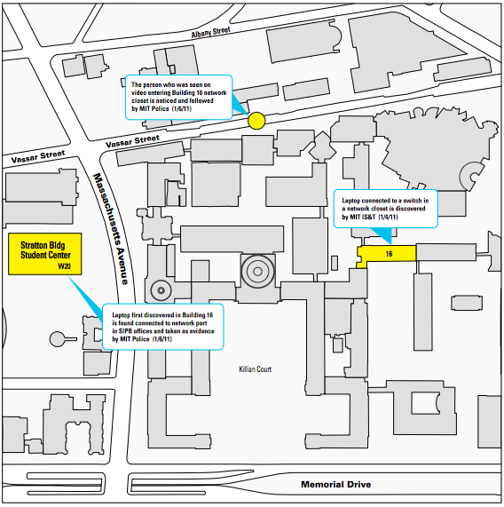 Map of MIT central campus, from the MIT report on the prosecution of Aaron Swartz.
