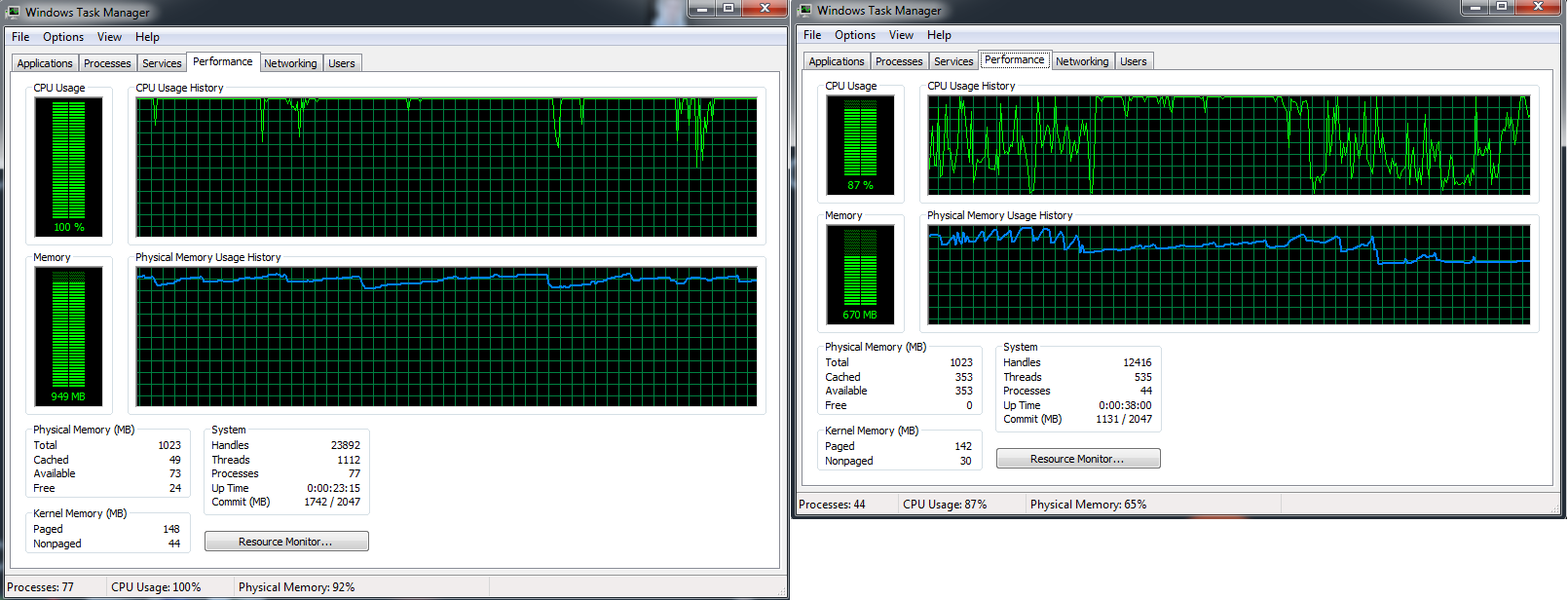 The left Task Manager window is the adware-infested OS, while the right is that same system before all of the installs.