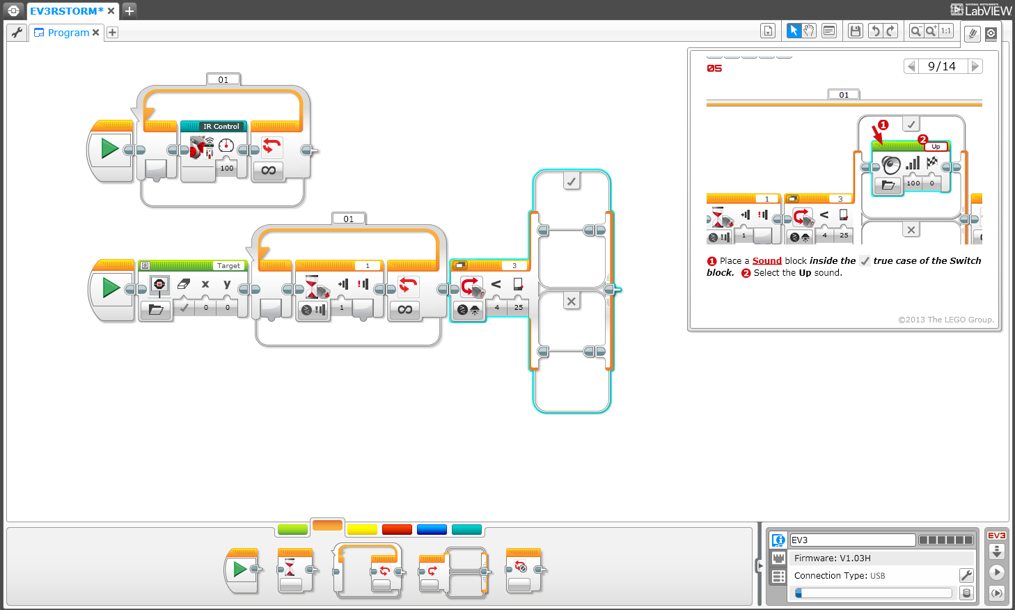 Following instructions to manually re-create one of the Ev3rstorm programs in the drag-and-drop EV3 programming environment.