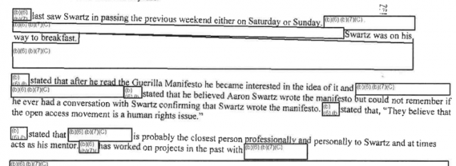 Secret Service summary of interview with a friend of Swartz.