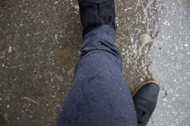 The pants after a walk in the rain. Wet and sloppy cuffs, you shall burden me no longer!