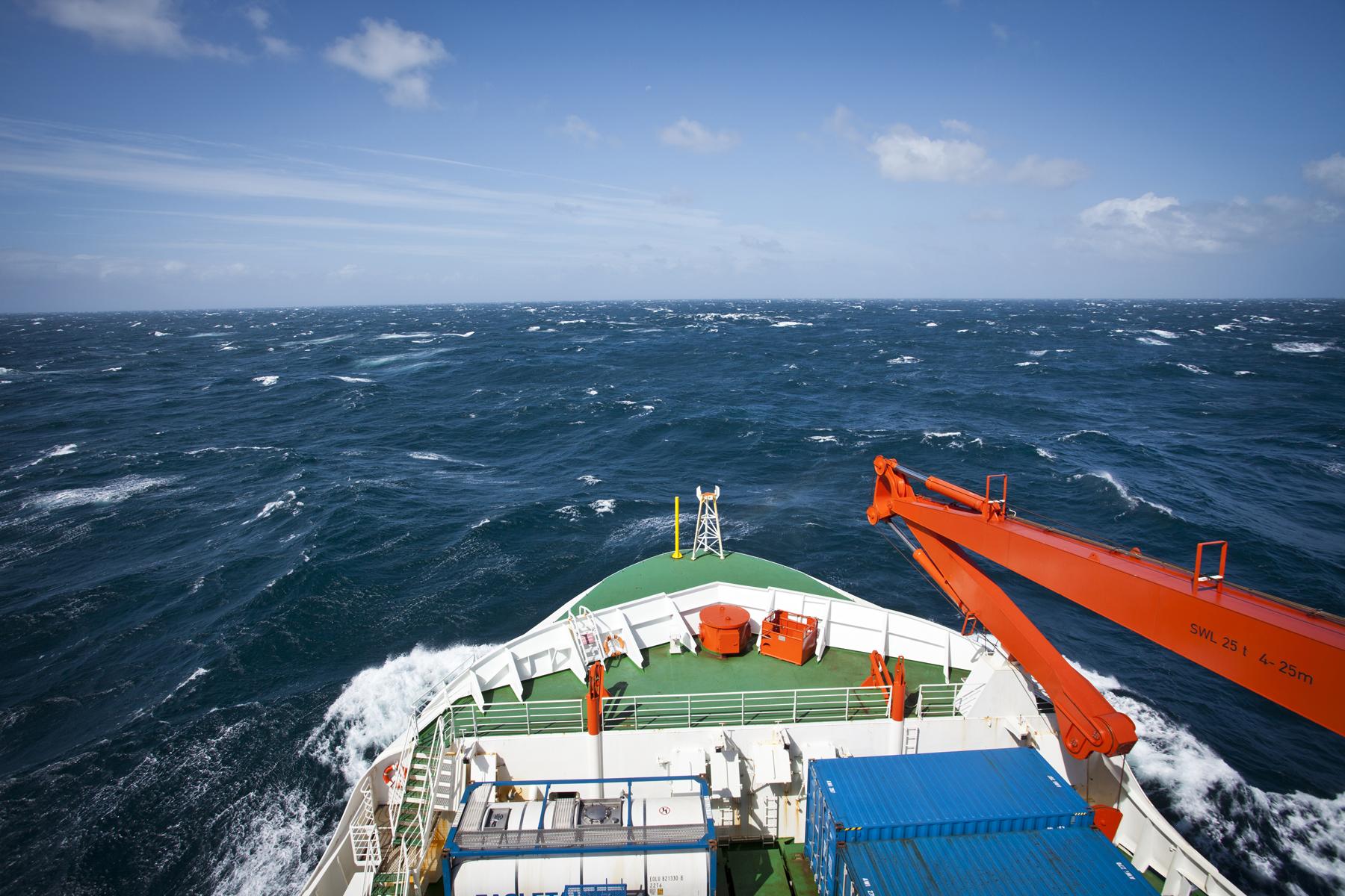 R/V Polarstern sailing across the Southern Ocean.