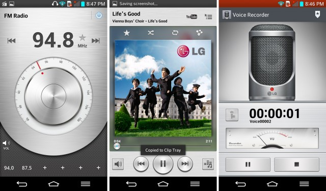 The FM radio app, music player, and voice recorder.