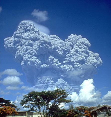 The June 12, 1991 eruption column from Mount Pinatubo taken from Clark Air Base. The eruption of Mount Pinatubo is one of the relatively few large volcanic eruptions to affect the Earth's atmosphere between 1979 and 2005.