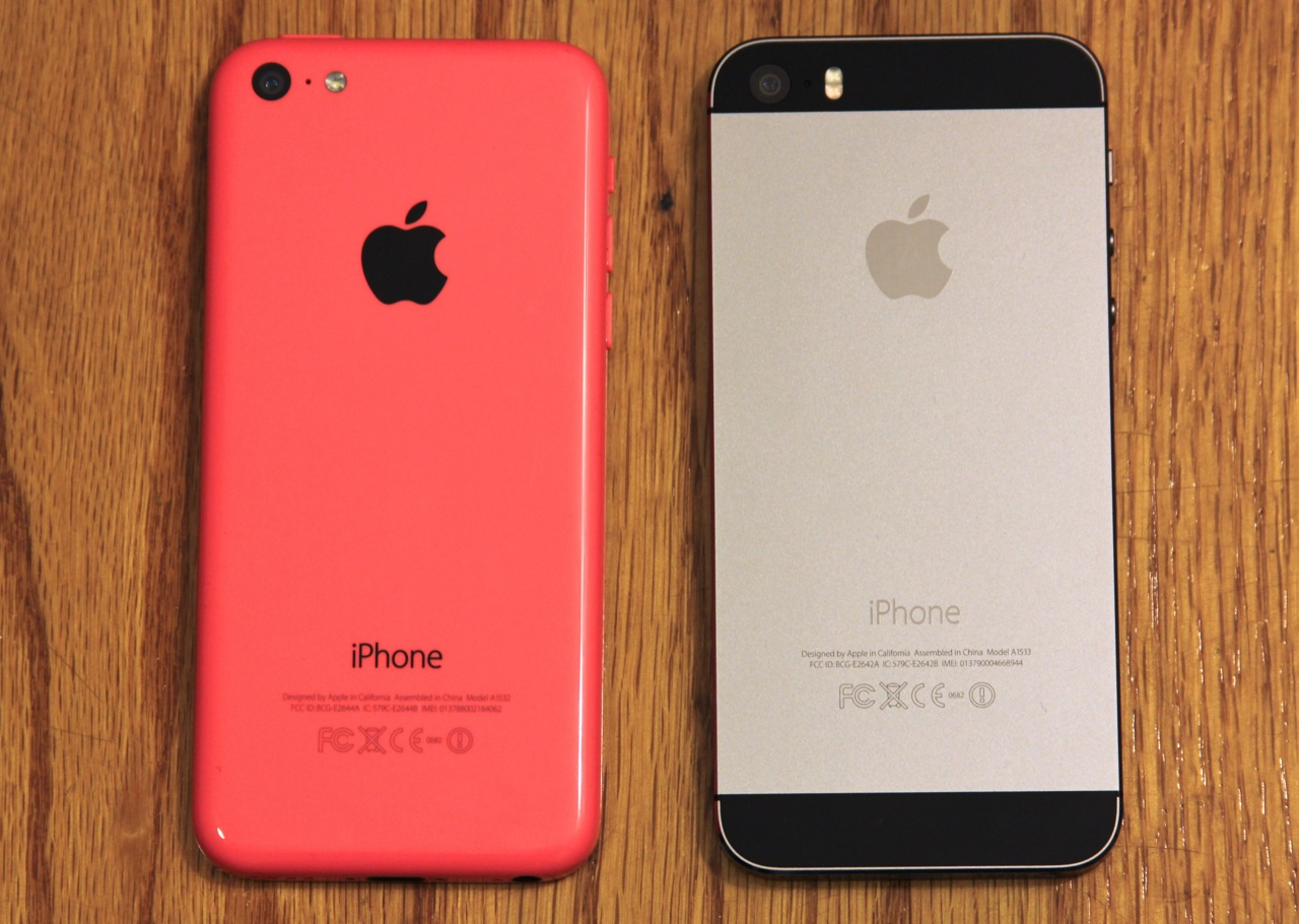 The black Apple logo and text are all equally smooth and sit flush with the back of the phone. This is in contrast to the slightly raised Apple logo on devices like the iPhone 5S (pictured) or iPod touch.