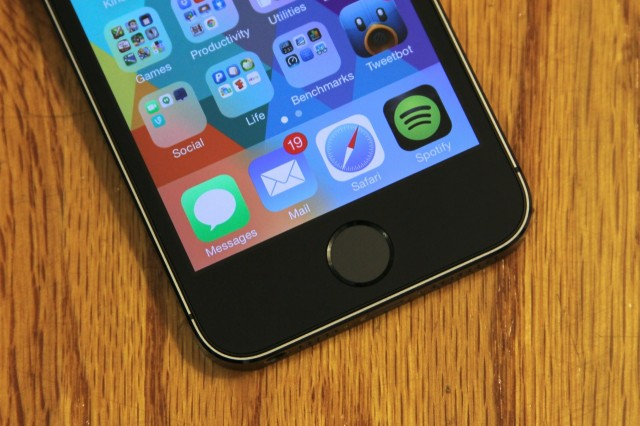 The iPhone 5S' fingerprint sensor is embedded in the phone's Home button, which loses the rounded square imprint present on other Home buttons but is otherwise clickable just as it is on any other iOS device.