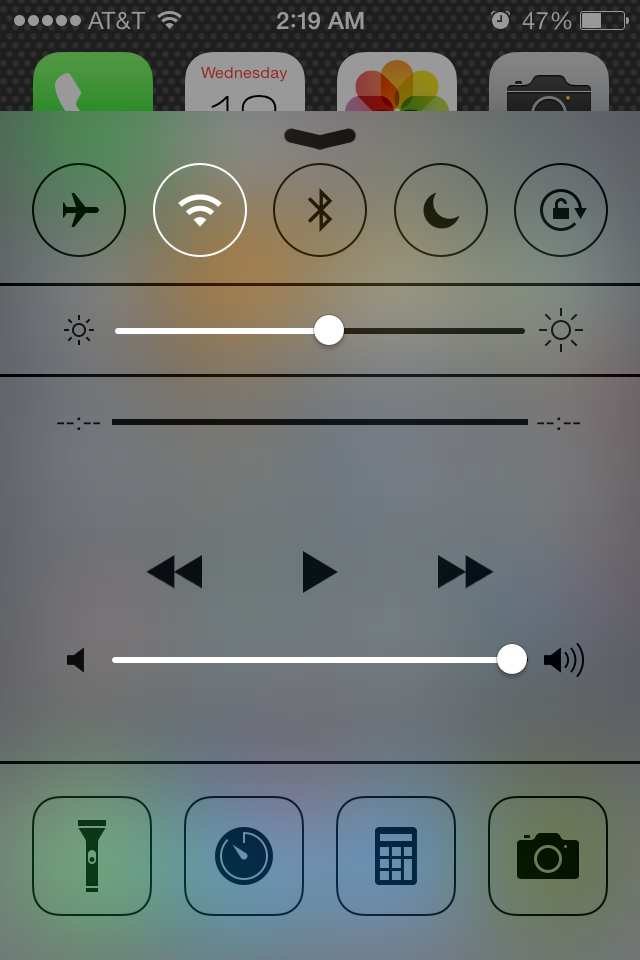 Translucent Control Center on the iPhone 4S.