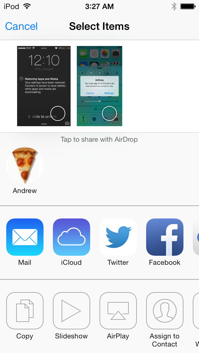 People you can AirDrop with show up in iOS 7's redesigned Share menu.