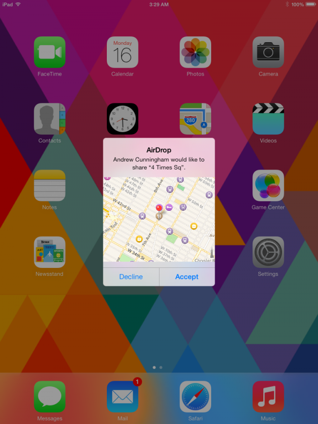 Even apps and map locations can be beamed over via AirDrop.