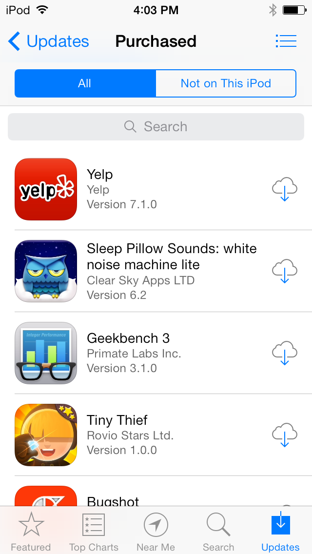 The ability to search through your purchased apps is also new.