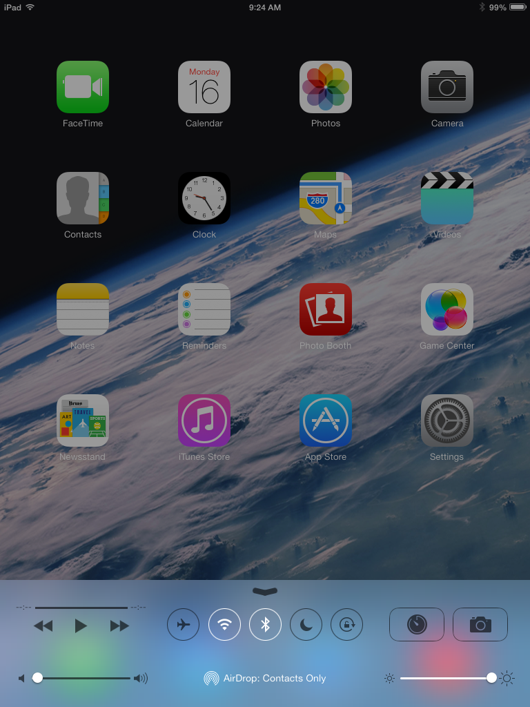 Control Center on an iPad mini.