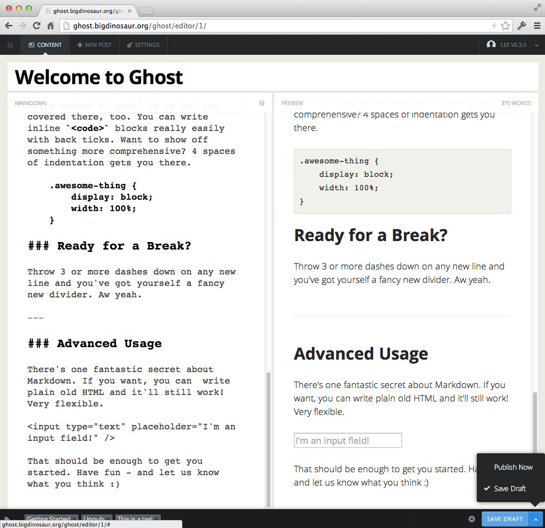 Ghost's post editing window, showing a live preview of what you're typing.