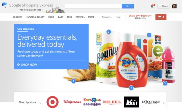 Google Shopping Express' home page.