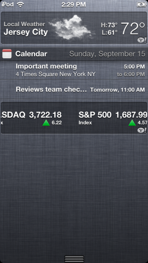 The linen Notification Center in iOS 6.