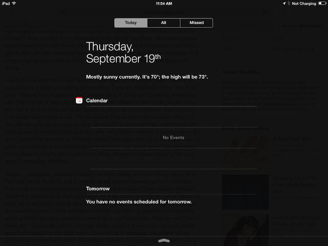 ...and the Notification Center on the iPad 2, filled with lovely shades of gray. Just gray.