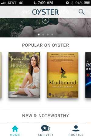 Oyster's home page with some generic recommendations.