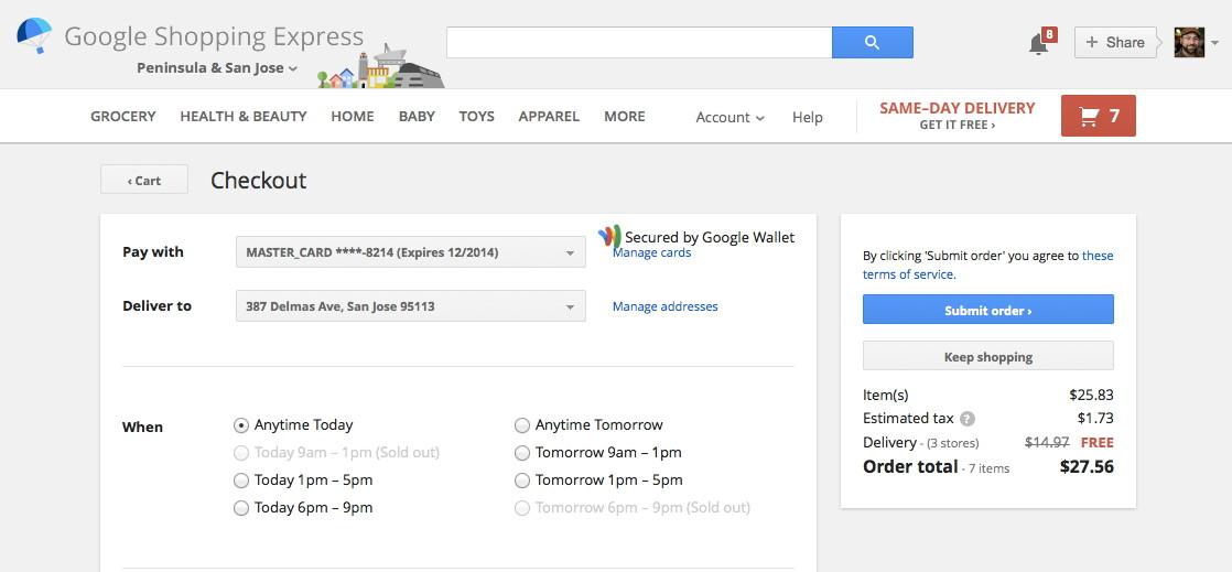 Google Shopping Express' checkout screen.
